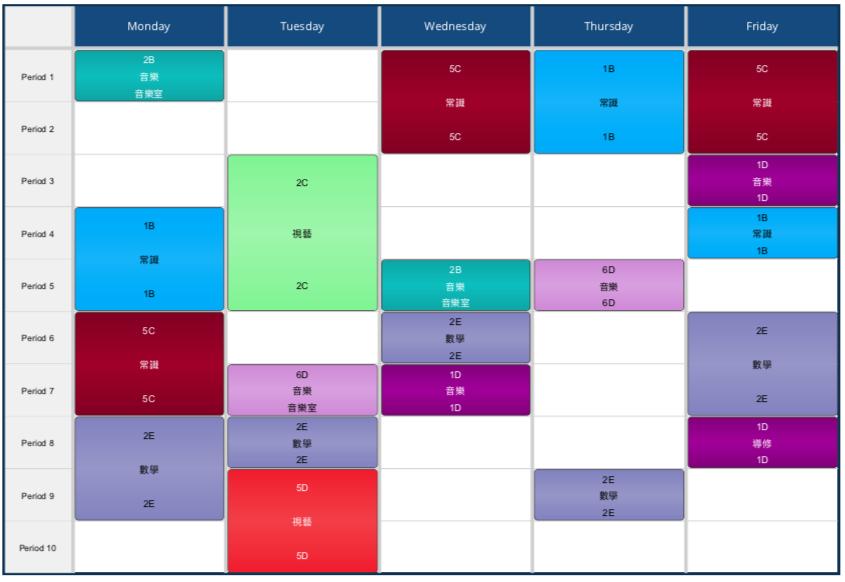 Timetable by Teacher